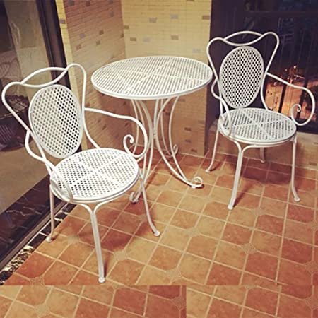 Du hui Mesa y sillas de Comedor de Hierro al Aire Libre, balcón balcón, Mesa Redonda y Silla de Hierro Forjado de Tres Piezas para Patio, Patio, jardín (Color : White): Amazon.es: