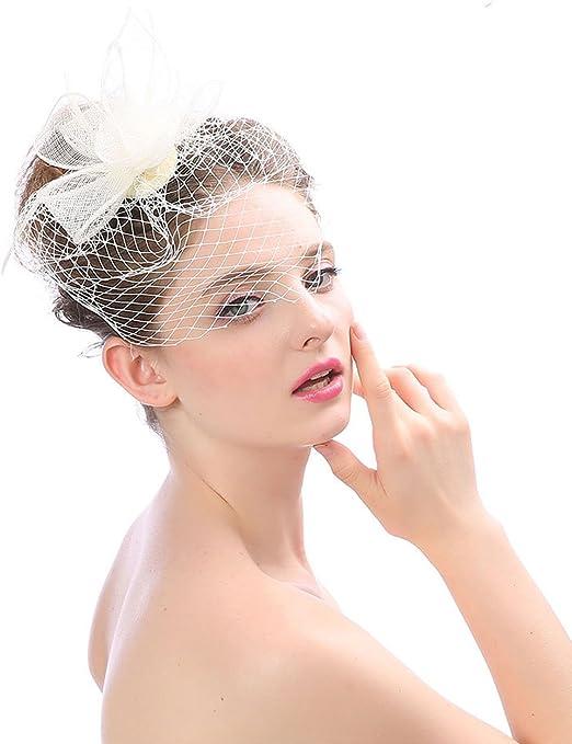 Women Cocktail Bridal Feather Fascinator 1920s Gatsby Pillbox Hats Hair Clip