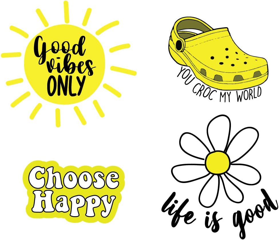 Yellow Stickers Pack of 4,VSCO Teen Girl Stuff Under 5 Dollars, Cute Stickers, Stickers for Water Bottles, Computer Stickers, Awesome Hydro Flask Stickers, Croc Sticker for Water Bottles