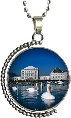 Photo Cabochon Glass Silver popular Pendants Chain Necklace(Swan Family)
