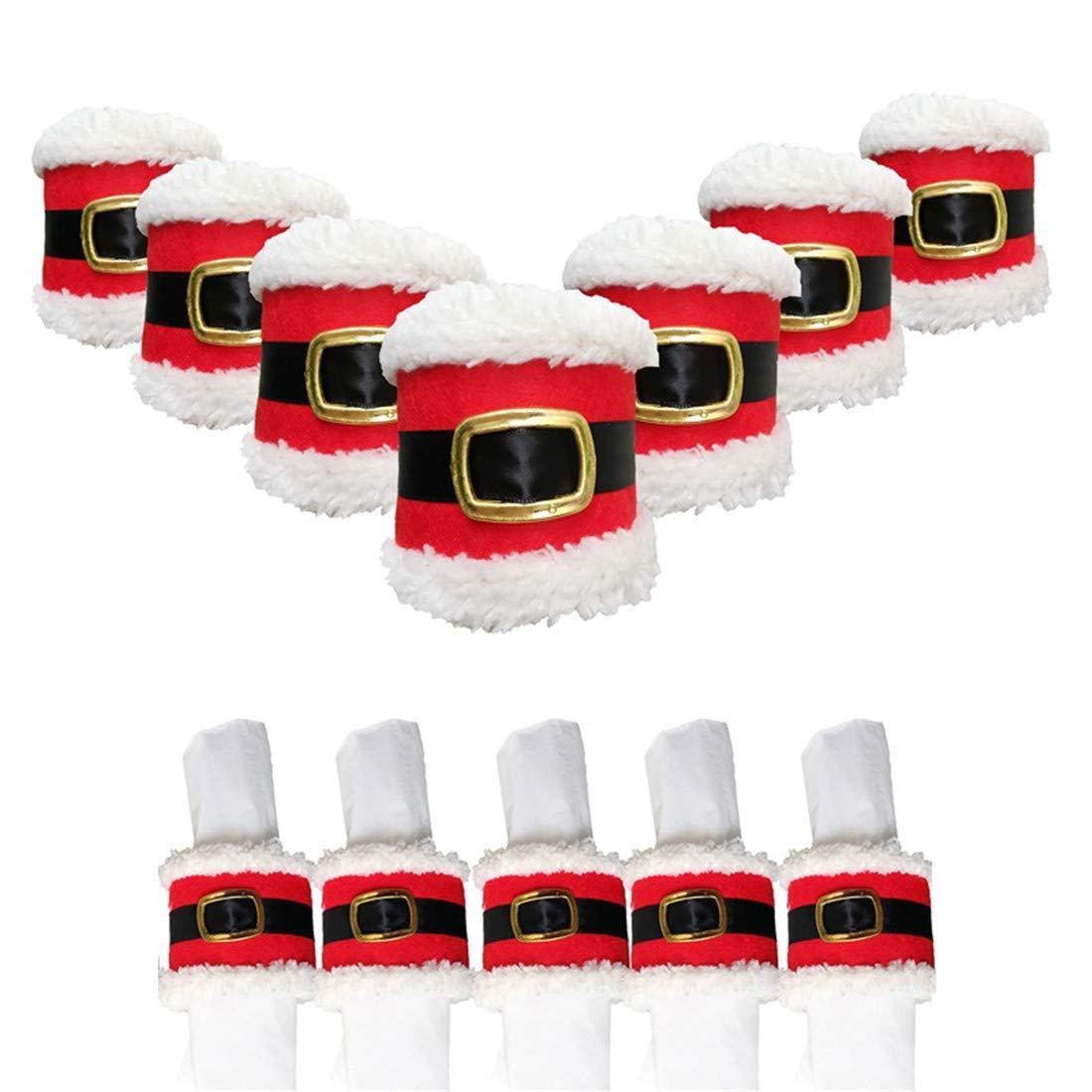 Deisy Dee 12pcs Christmas Santa Claus Belt Napkin Rings Serviette Holder Party Banquet Dinner Table Decor (style 1)
