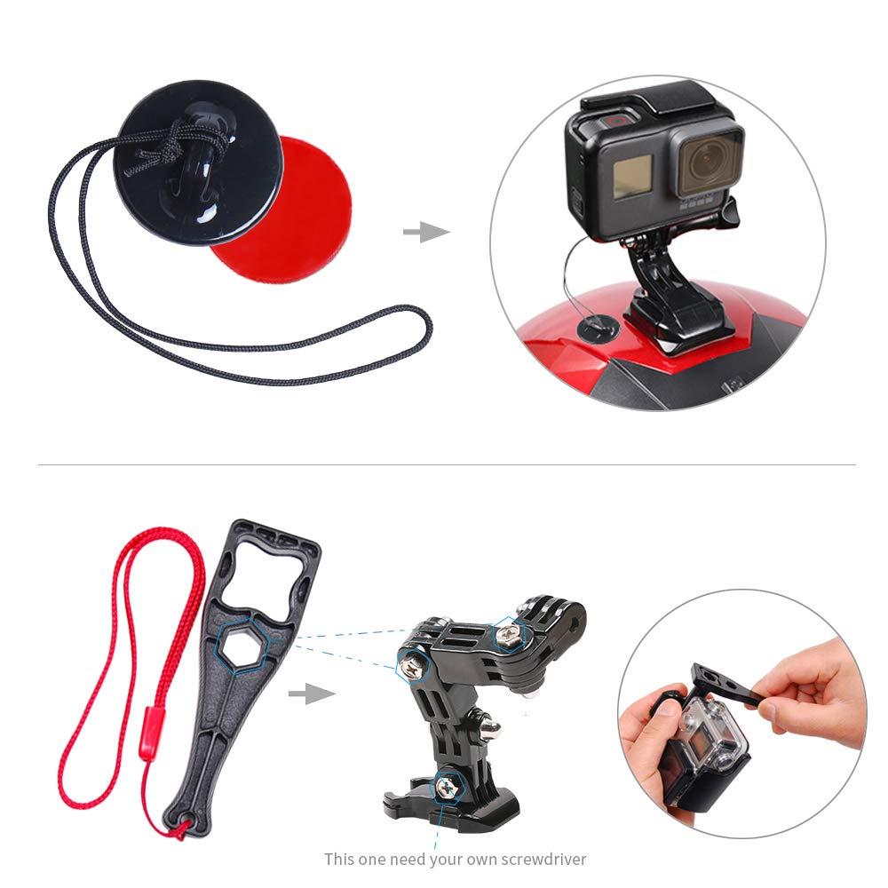 SUREWO soporte para casco de motocicleta y soportes adhesivos Compatible con GoPro Hero 7 6 5 Black, 4 Session, 4 Silver, 3 +