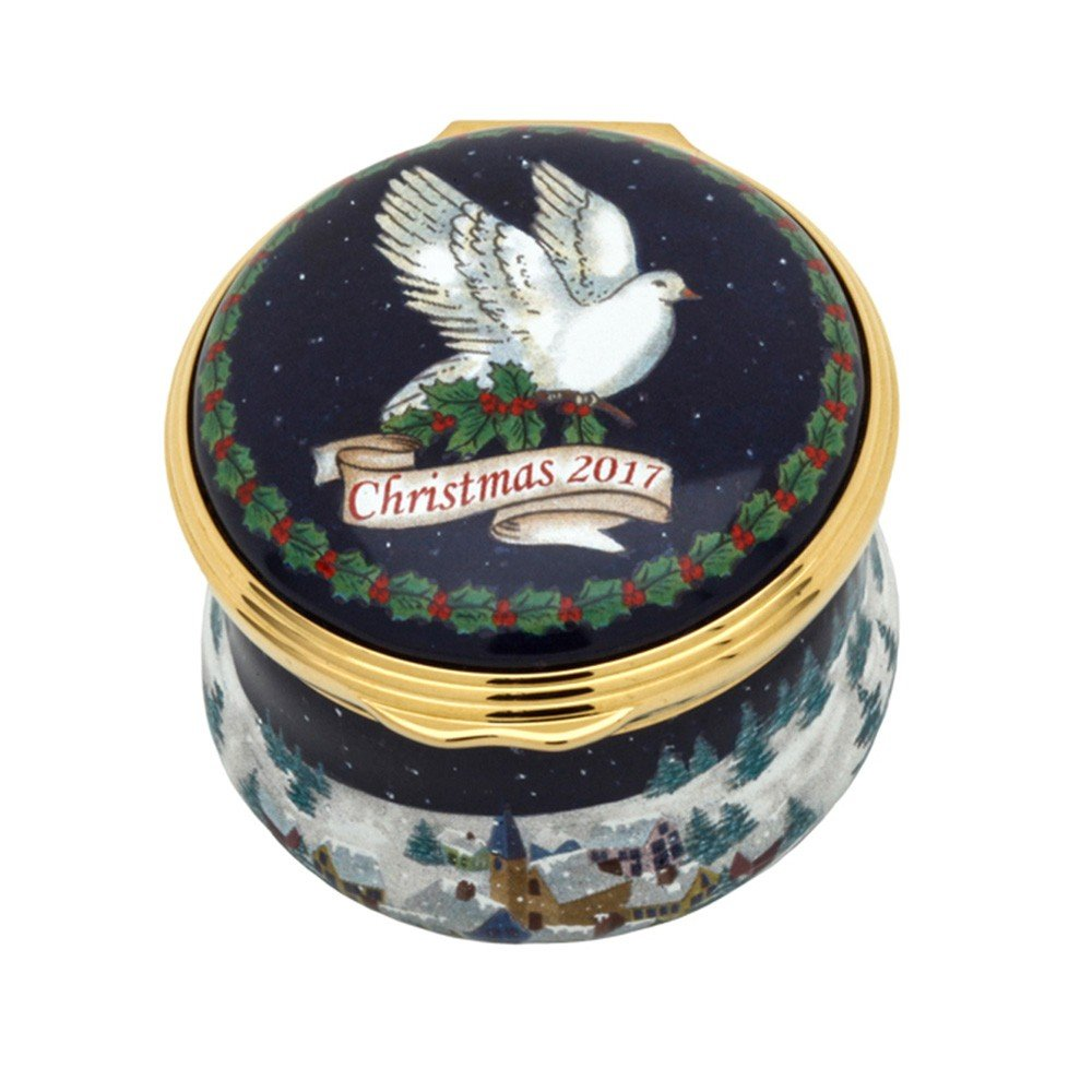 Halcyon Days, Christmas 2017 Dove of Peace Enamel Box w/Inside Inscription, 24K Gold Fittings, Gift Box by Halcyon Days