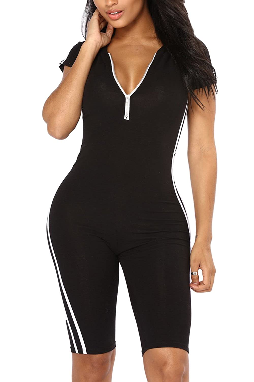 Pointtee Women's Short Sleeve Zip Up Active Hooded Top Striped Capris Bodycon Sporty Romper by Pointtee