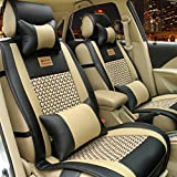 E-cowlboy Full Set 10pcs Needlework Pu Leather Front Rear Car Seat Cushion Cover Toyota Camry Corolla 4runner Harrier Prius Hilux Highlander Crown Rav4 Tundra Yaris Eco Solara 5 Seats (Black)