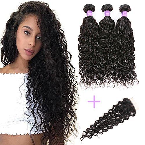 Water Wave Bundles with Closure Unprocessed Brazilian Hair Water Wave with Closure 3 Bundles Human Hair Extensionss (16 18 20+14, Natural Color)