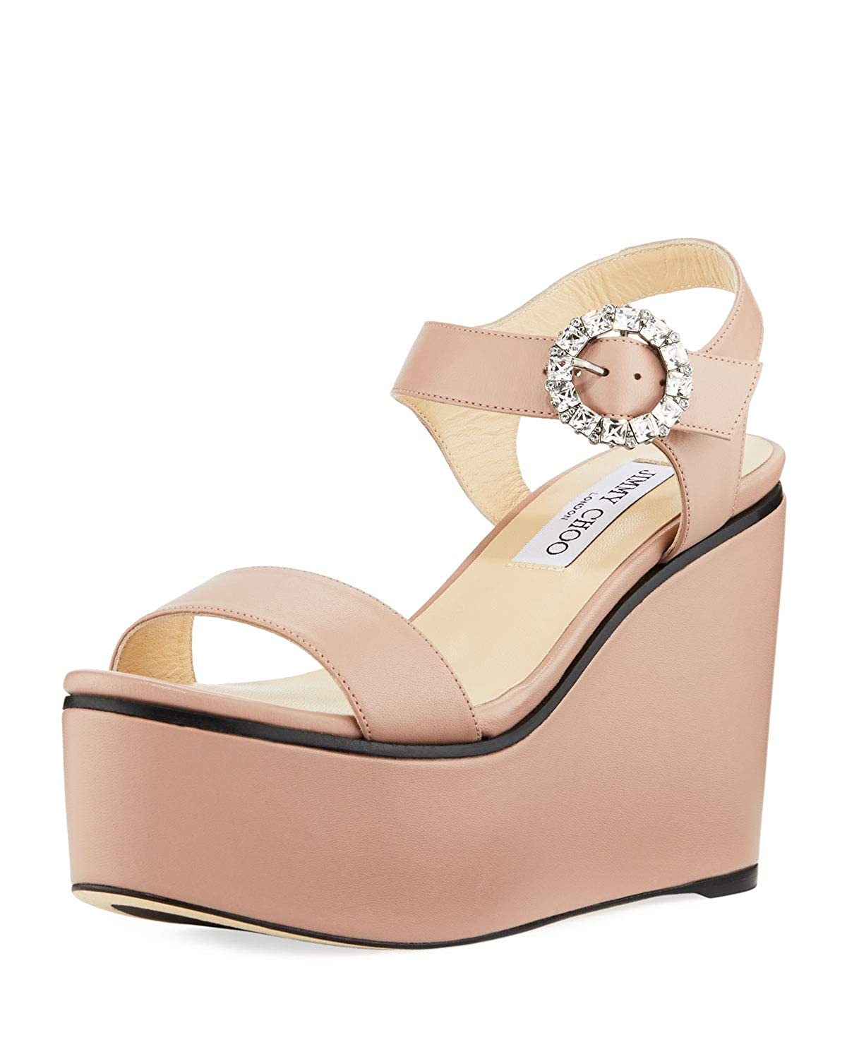99c8e4579dc Amazon.com | JIMMY CHOO Nylah Leather Wedge Platform Sandals 40 Beige |  Platforms & Wedges