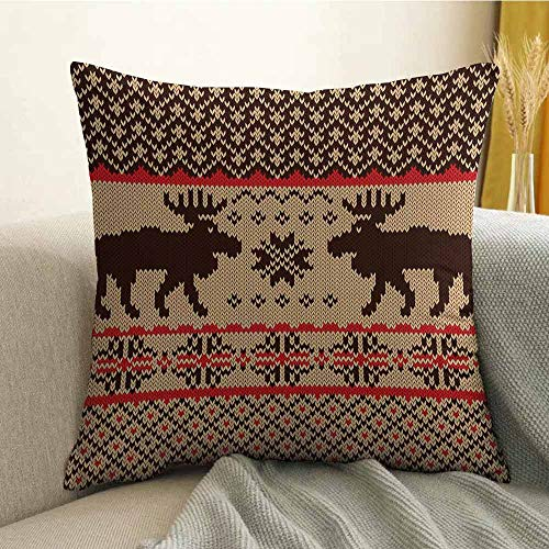 FreeKite Cabin Decor Bedding Soft Pillowcase Knitted Swatch with Deers and Snowflakes Classic Country Plaid Digital Print Hypoallergenic Pillowcase W20 x L20 Inch Brown Tan Red