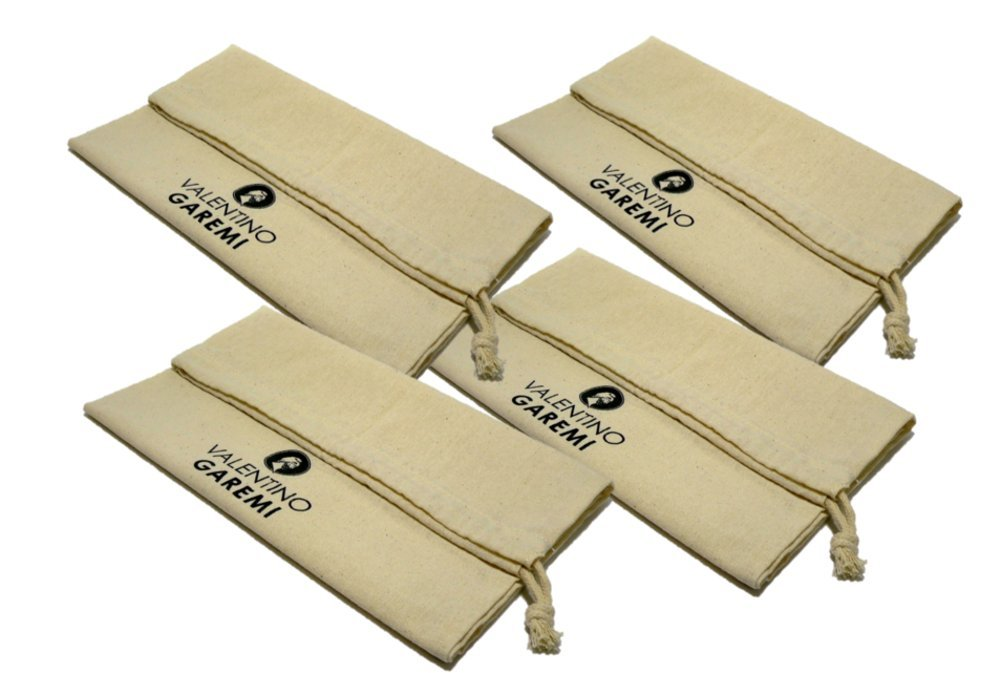 4 Shoe Bags for Travel, Storage, Dust, Light Protection, Gym, Luggage - Pure Cotton by Valentino Garemi
