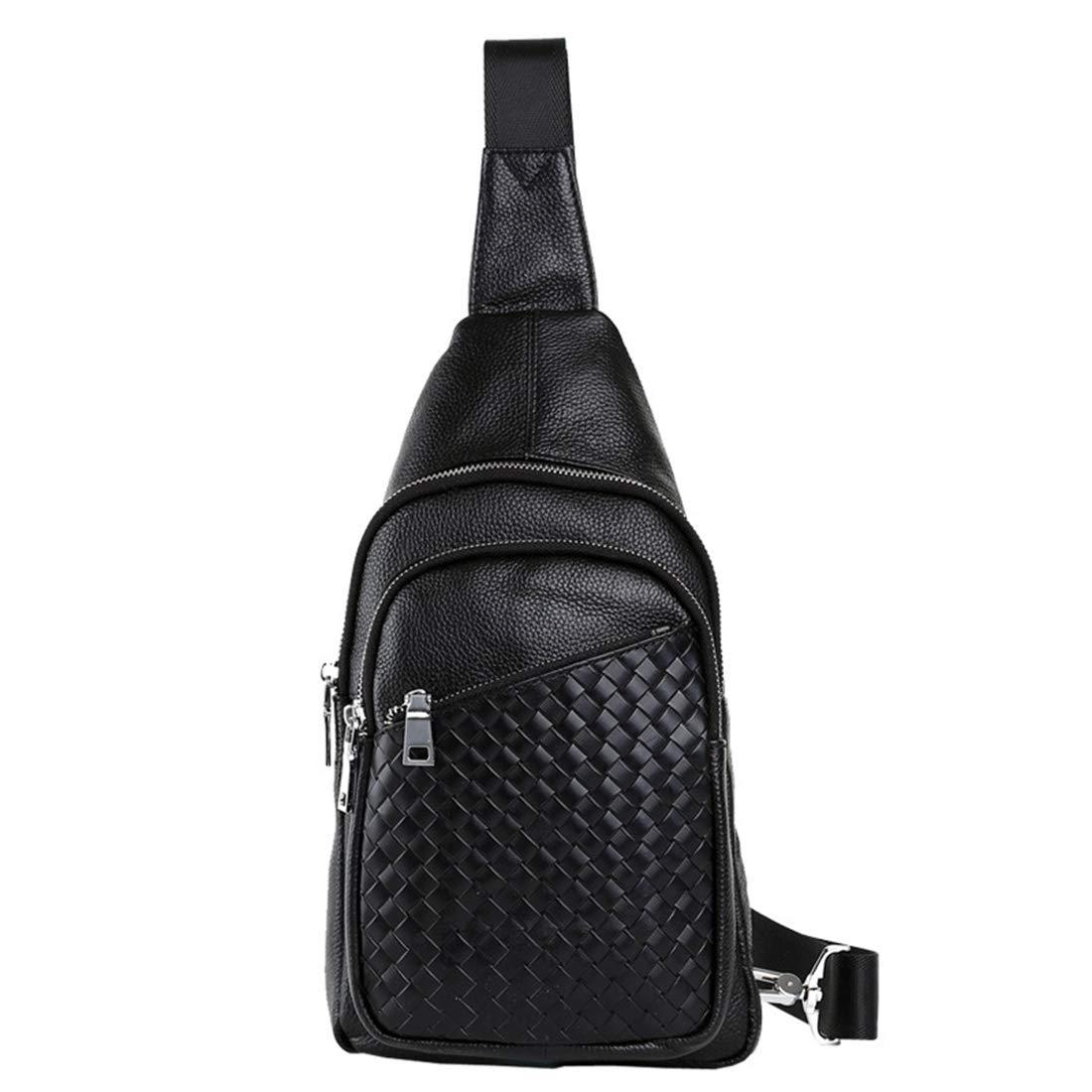 RABILTY Men Genuine Leather Chest Bag Casual Shoulder Bag Woven Messenger Bag Travel Fitness Sports Bag Carry-on Backpack Color : Photo Color