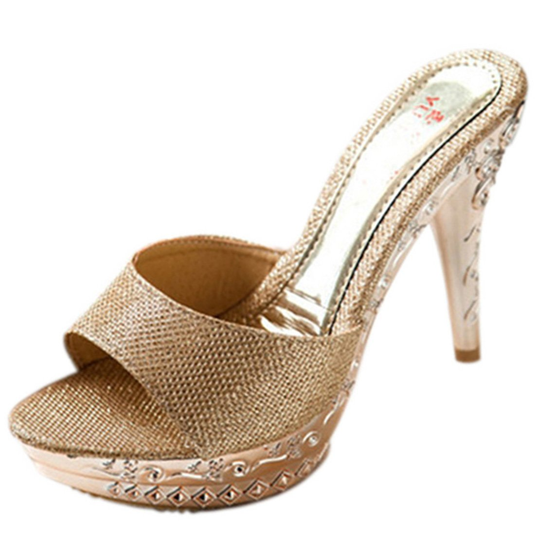 9ba855fac15 Jiyaru Women PU Sandal High Heel Slipper Open Toe Slide Dress Sandal Gold  US7.5  Amazon.ca  Shoes   Handbags