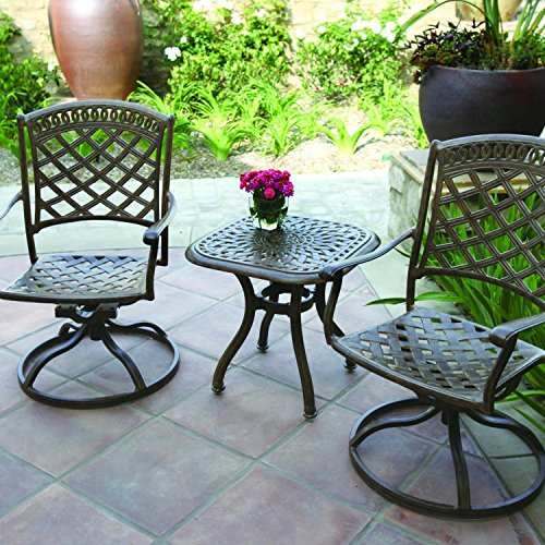 Sedona Bistro - Darlee Sedona 3 Piece Cast Aluminum Patio Bistro Set With Swivel Rockers - Mocha