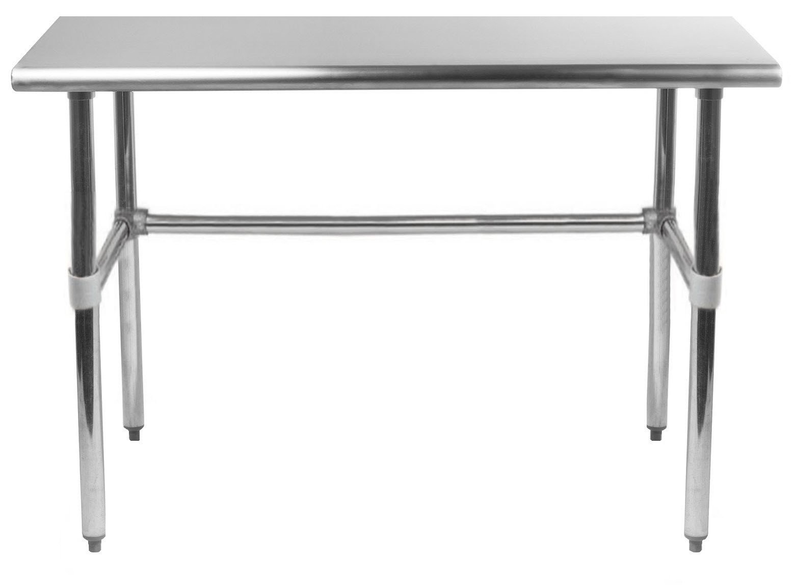 AmGood Stainless Steel Work Table Open Base | Removable Crossbar | NSF Certified | Kitchen Island Food Prep | Laundry Garage Utility Bench (36'' Long x 24'' Deep)