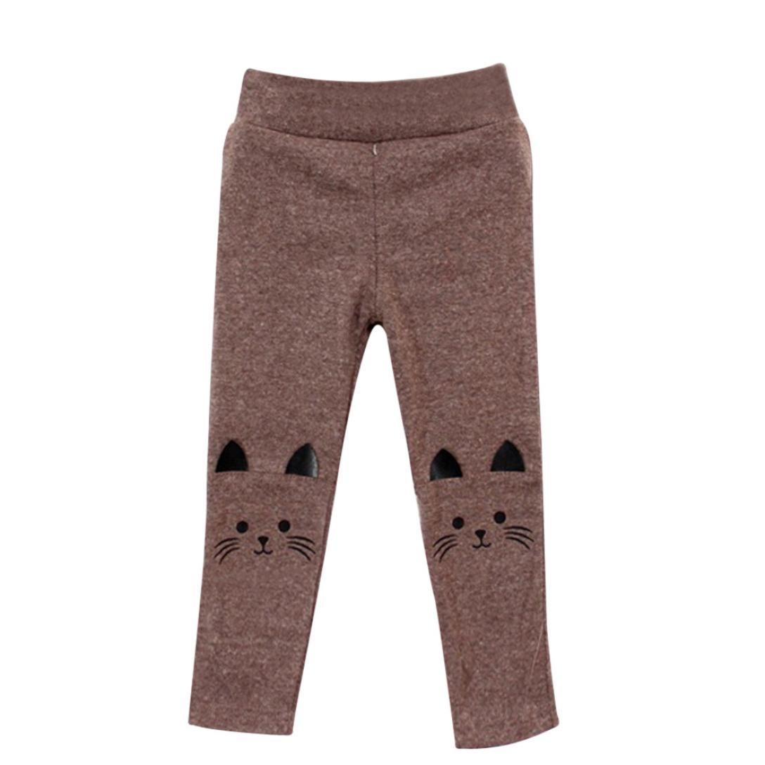 iumei Baby Kids Girl Boy Wool Stretch Cartoon Pencil Pants Long Tights Bottom Leggings
