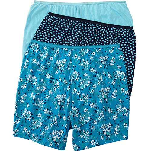 Comfort Choice Women's Plus Size 3-Pack Cotton Boxer - Aqua Floral Pack, 8