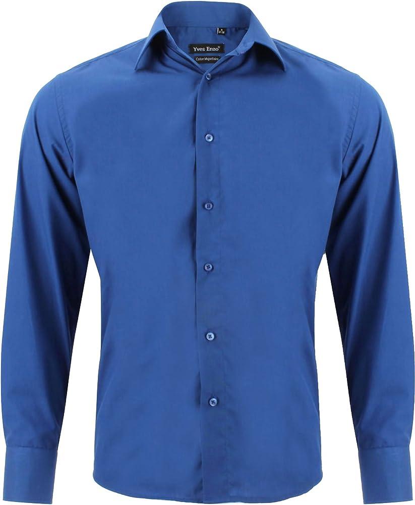 Camisa Hombre clásico Azul Real Regular fit con Mangas largas Talla S: Amazon.es: Ropa y accesorios