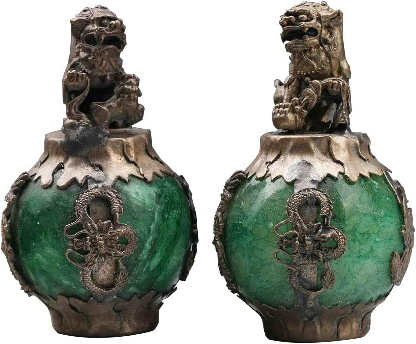 Acxico 1Pairs Exquiste Chinese Silver Dragon Inlaid Jade Hand Carved Lion Statue