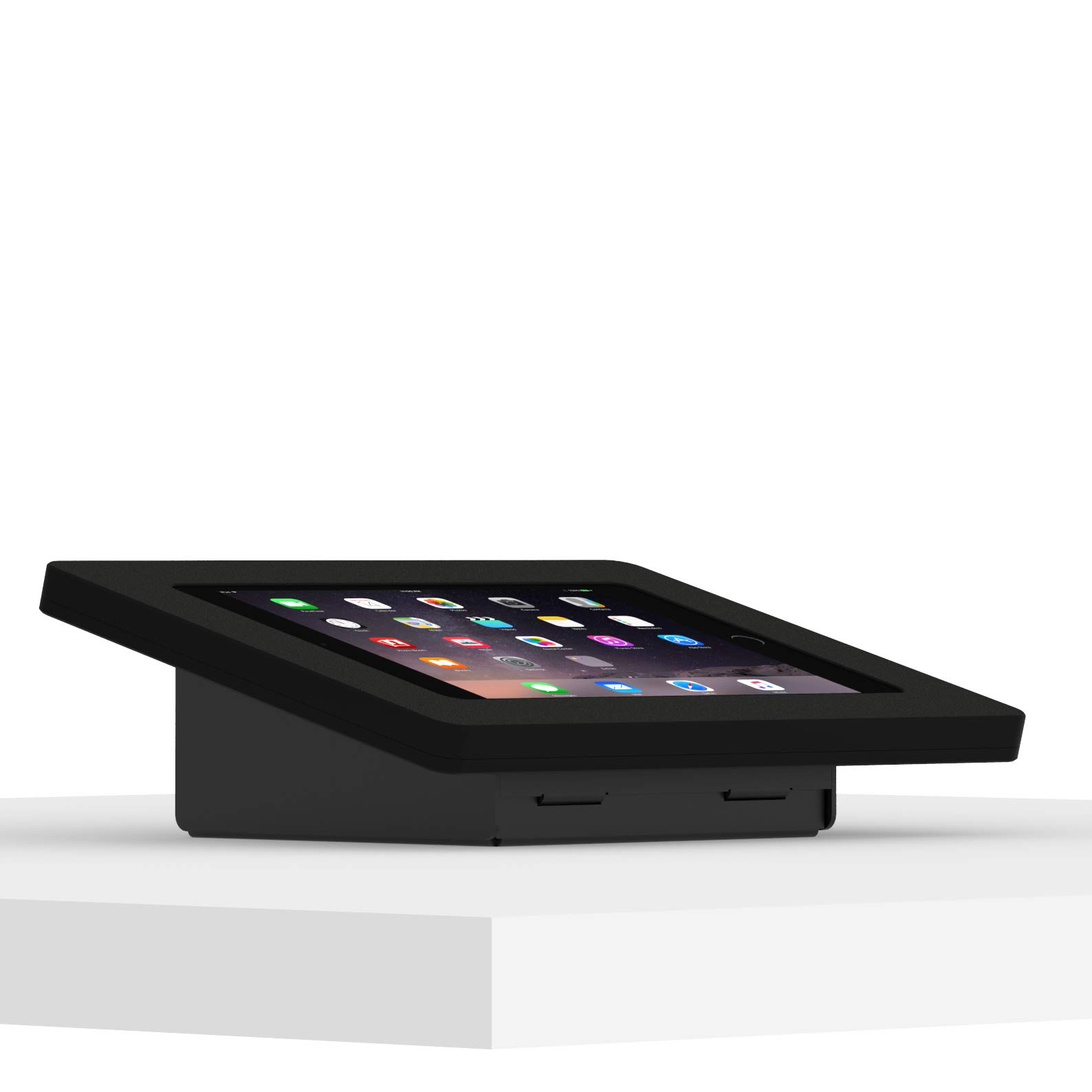 VidaMount Black Enclosure and Fixed Tilted 15° Desk/Surface Mount [Bundle] Compatible with iPad Mini 4 & 5
