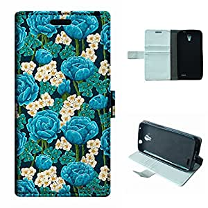 SoloShow® New Alcatel One Touch Pop 2 Astro 5042 5042A 5042X Case Mint Green Flowers pattern Luxury Wallet PU Leather Case Flip Cover Built-in Card Slots & Stand Cover