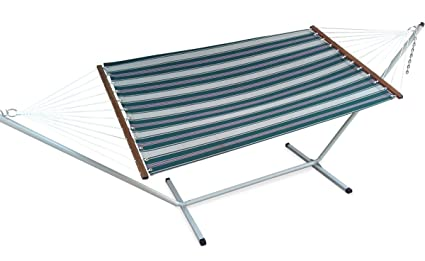 Emerald striped Canvas hammock with Steel stand