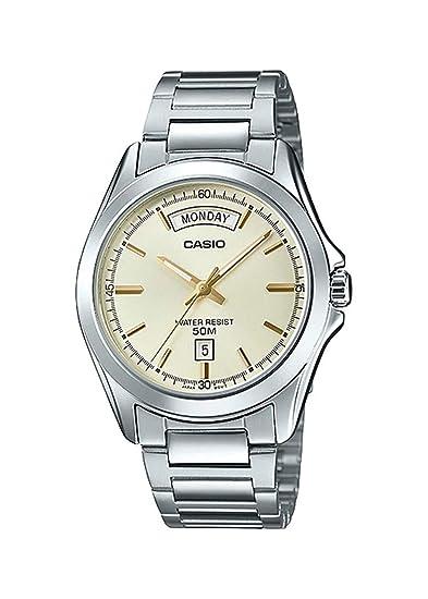 Casio MTP1370D-9AV Reloj de Pulsera para Hombre, estándar, clásico, de Acero Inoxidable, Esfera Dorada, con Fecha de día: Amazon.es: Relojes
