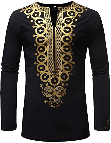 WSPLYSPJY Mens Long Sleeve Dashiki African Shirt Casual Stylish Print Shirt Tops