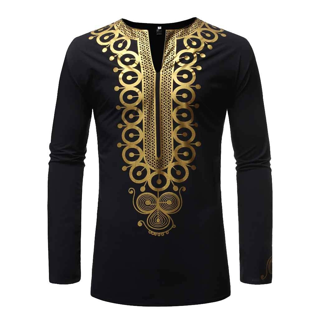 MODOQO Men's African Shirt,Outdoor Fashion Hippie Printed Bright Color Medium Length Shirt(Black,CN-XL/US-M) by MODOQO