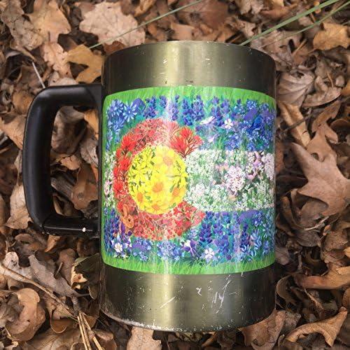Waterproof Vinyl Mountain Tough Outdoor Stickers 4.5 Wide Colorado Wildflower Flag Sticker .