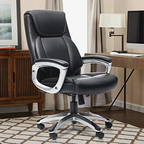 Executive Office Desk Chair, Oudort Home Office Chair with Thick Padding Headrest and Armrest,Tilt Function 500-Pound Capacity,Adjustable Built in Lumbar Support, Big and Tall High-Back Swivel Office
