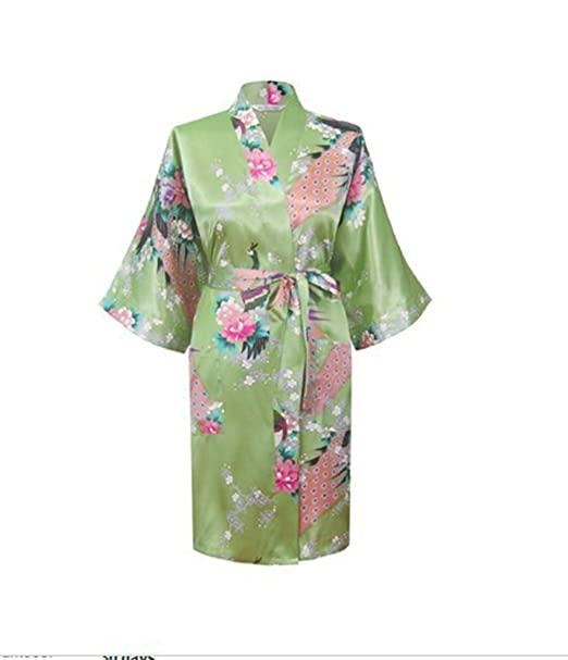 a8aa20aea6 Silk Satin Wedding Bride Bridesmaid Robe Floral Bathrobe Short Kimono Robe  Night Robe Bath at Amazon Women s Clothing store