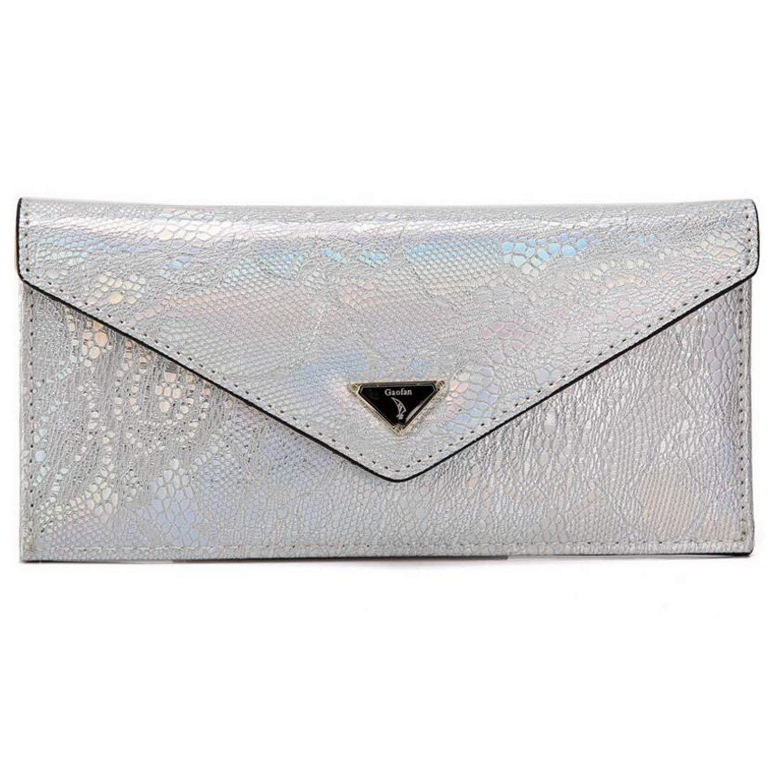 White Soft Wallet Blocking Wax Leather Designer Trifold Multi Card Organizer for Women Handbag (color   Silver)