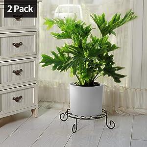 2 Pack 10 inch Metal Potted Plant Stand Rustproof Iron Art Flower Pot Holder Rack Indoor Outdoor Steel Short Planter Supports Trivet Floor Saucer Deco