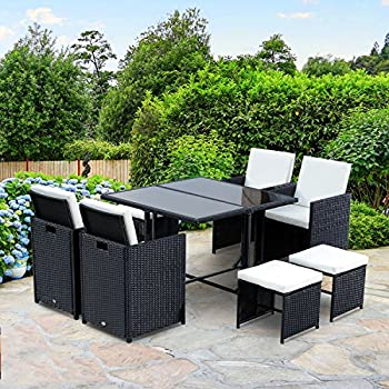 Outsunny 9 pc Outdoor Rattan Wicker Dining Table and Chairs Patio Furniture Set