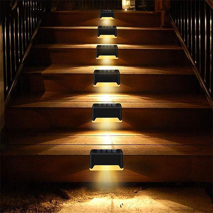 Luces De Cerca Solar/Luces De Cubierta Impermeable Luces LED De Pared Exterior Al Aire Libre Luz De Seguridad Inalámbrica, Para Escalera, Barandillas, Jardín (Blanco Cálido) Paquete De 6: Amazon.es: Iluminación