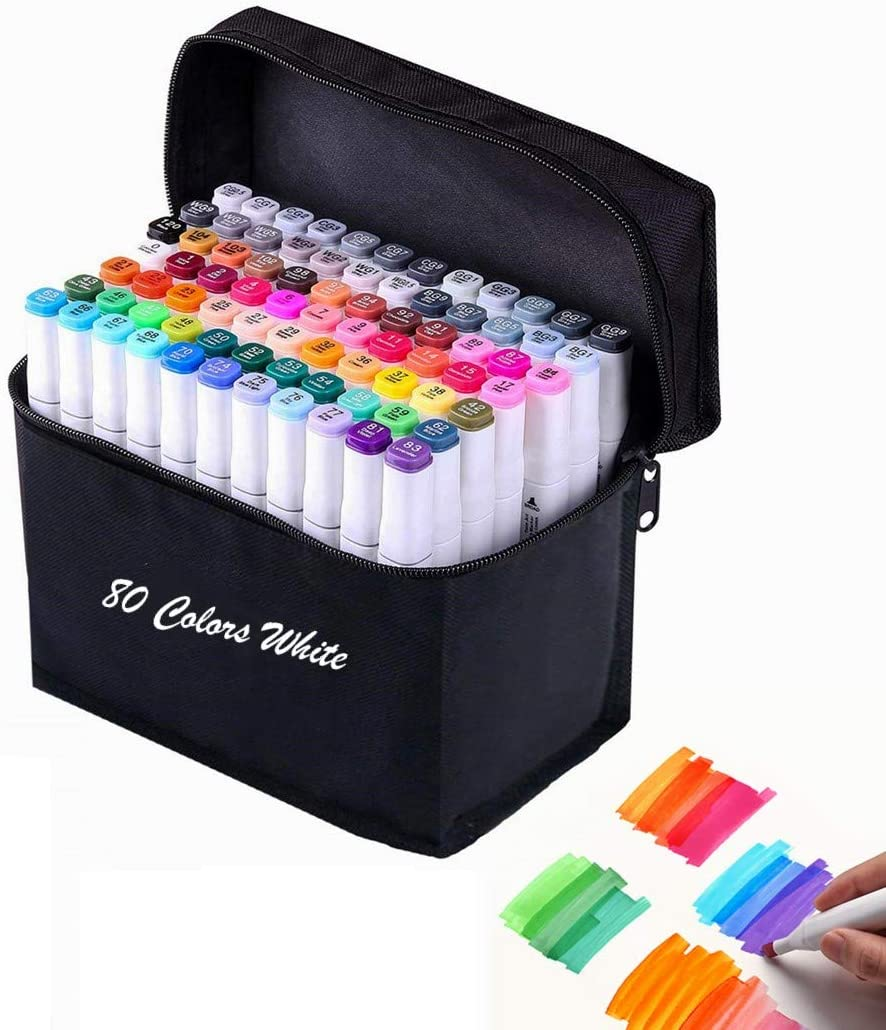 80 Color Alcohol Markers,Dual Tip Art Marker Pen, Classic Series Alcohol Felt Permanent Markers, Animation Art Sketch Sketching, Alcohol-Based Markers (80 Colors White)
