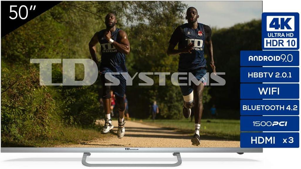 TD Systems - Televisor K50DLX11US, Smart TV 50 Pulgadas, 4K Android 9.0 y HBBTV, 1500 PCI Hz UHD HDR, 3X HDMI, 2X USB. DVB-T2/C/S2, Modo Hotel, Negro: Amazon.es: Electrónica
