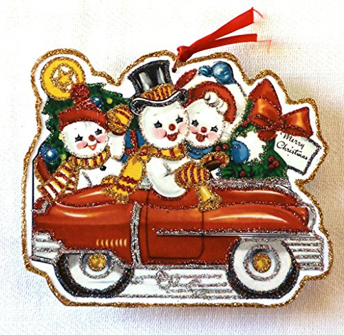 istmas Ornament~Stocking Stuffer~ Snowmen in Car ~Vintage Card Image ~Handmade ()