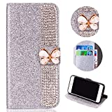 Glitter Leather Wallet Case for Samsung Galaxy A6 2018,Shinyzone Luxury Diamond Sparkle 3D Butterfly Magnetic Buckle Women Series Design Cover for Samsung Galaxy A6 2018,Silver