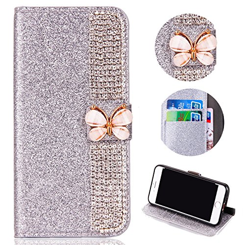 Glitter Leather Wallet Case for Samsung Galaxy A6 2018,Shinyzone Luxury Diamond Sparkle 3D Butterfly Magnetic Buckle Women Series Design Cover for Samsung Galaxy A6 2018,Silver by Shinyzone