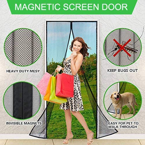 Aoocan Magnetic Screen Door with Heavy Duty Mesh Curtain and Full Frame Velcro Fits Door Size up to 34-82 Max- Black