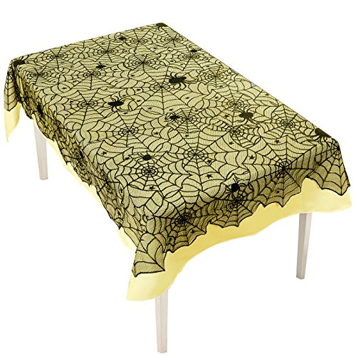 Fnbgl 54 x 72 Inch Halloween Decoration Spider Web Tablecloth Black Lace Cobweb Tablecloth Festive Party Supplies for Halloween Parties, Décor, Dinner & Spooky Meals (Black)