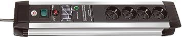 Brennenstuhl Premium-Protect-Line, Steckdosenleiste 4-fach mit Überspannungsschutz - stabiles Aluminium-Gehäuse (3m Kabel und