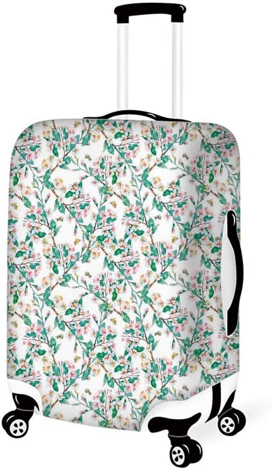 26.3W x 30.7H Flower Stylish Luggage Cover,English Country Style Blooming Spring Flowers and Leaves Design Print for Luggage,L