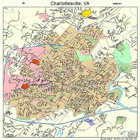 Amazon.com: Large Street & Road Map of Charlottesville ...