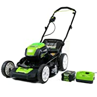 Deals on Greenworks Pro 21-In Push Lawn Mower w/4Ah Battery and Charger