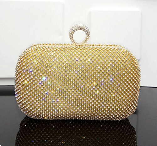 kotiger moda mujeres señoras noche bolso hombro bolsa boda embrague Monedero con cadena, amarillo amarillo