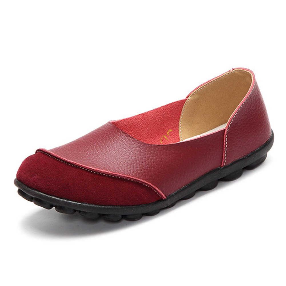 SCIEN Women's Casual Loafers Suede Leather Walking Slip-On Driving Moccasins Flats Shoes, Wine Red 39