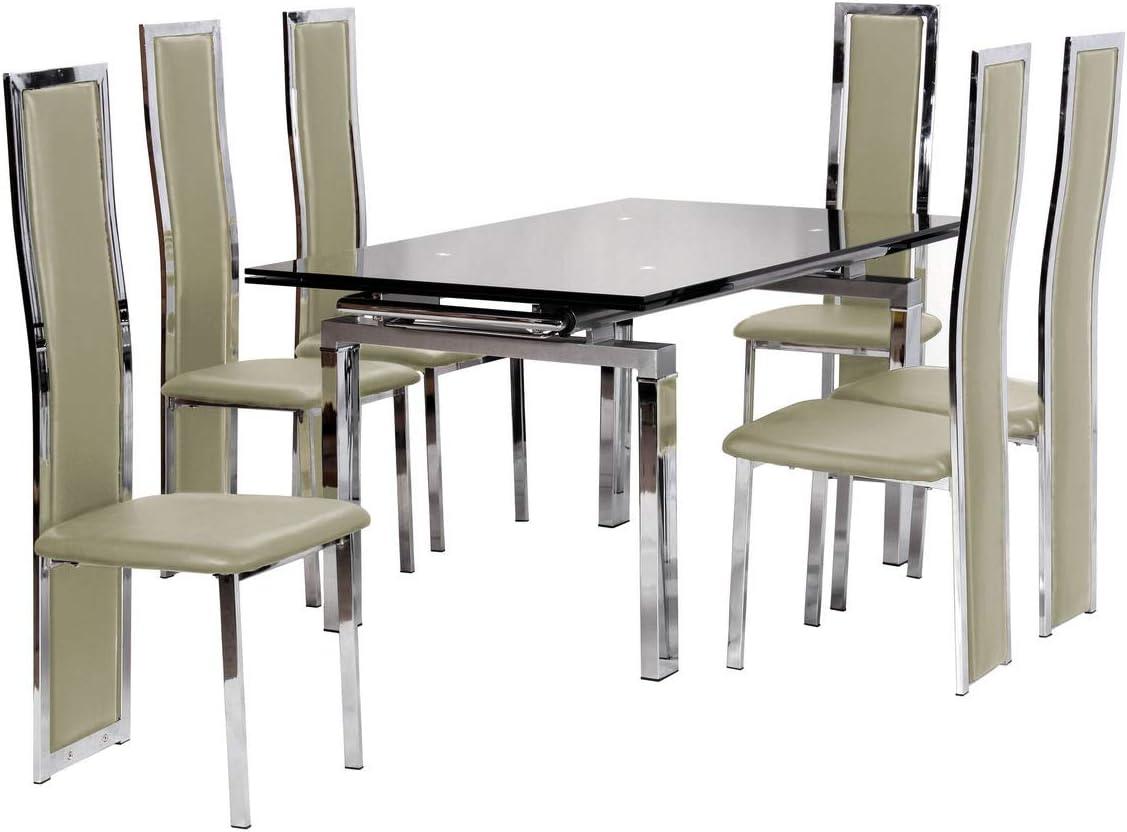 Imola - Juego de comedor extensible (6 sillas Troia), color crema ...