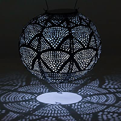 Allsop Home & Garden Soji Stella Ink Wave Globe LED Outdoor Solar Lantern, Handmade with Weather-Resistant Tyvek Fabric, Auto on/Off, Color (Ink Wave) : Garden & Outdoor