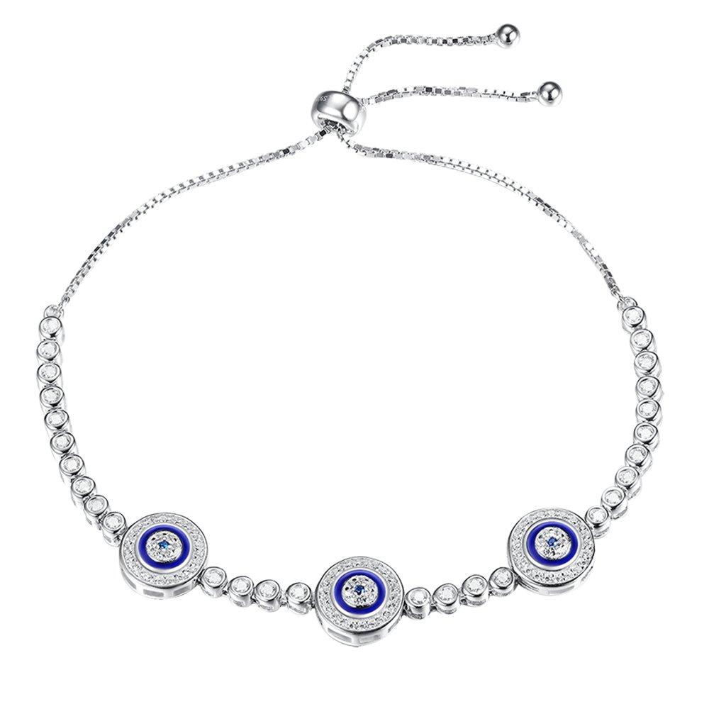 Kaletine Blue Evil Eye Tennis Bracelet Sterling Silver 925 Cubic Zirconia Adjustable 10'' Box Chain For Women